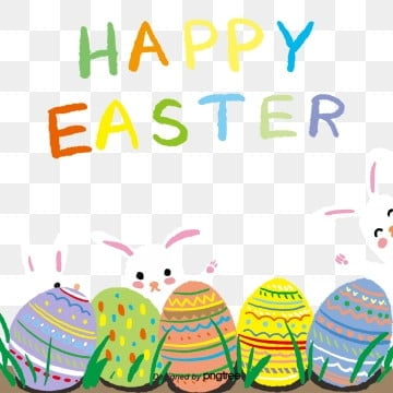 Easter Happy Easter Easter Rabbit and Egg Border Background, Rabbit, Easter, Typeface PNG and PSD