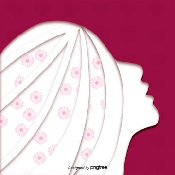 Pink flower side silhouette poster for women, Silhouette, Woman, Womens Day PNG and PSD