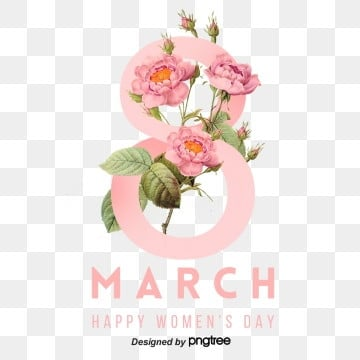 pink flowers interlaced with fashion womens day 8 character visual elements, 8th March, Happy Women Day S,  PNG and PSD