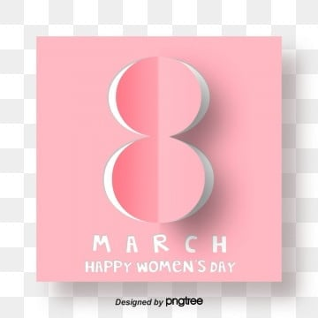 Pink Origami Fashion Womens Day 8-character Visual Elements, Eight, 8th March, Happy Women Day S PNG and PSD