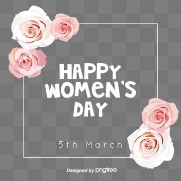 Pink Rose Womens Day Border Elements, 8th March, Happy Women Day S, Womens Day PNG and PSD