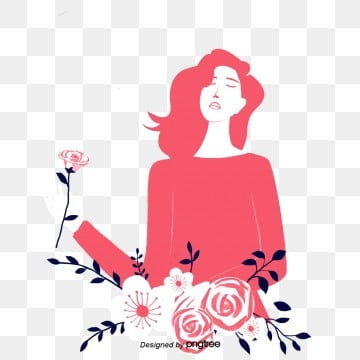Red Woman Silhouette Illustration Elements, Sanqi Goddesss Day, March 8th Womens Day, Silhouette PNG and PSD
