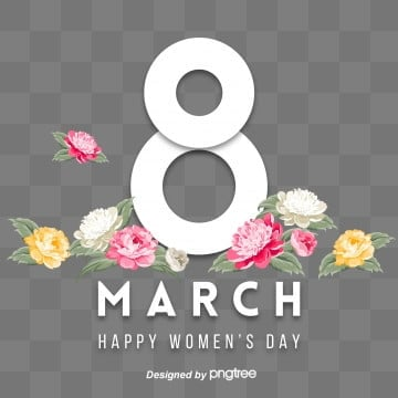 white fashion womens day 8-character visual elements, Eight, 8th March, Happy Women Day S PNG and PSD