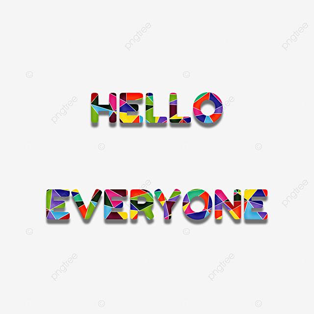 Colorida Olá A Todos Frase Geométrico Colagem Fonte Efeito