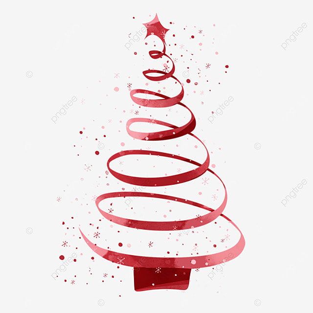Christmas Tree With Red Ribbon: Red Ribbon Christmas Decorative Elements, Ribbon