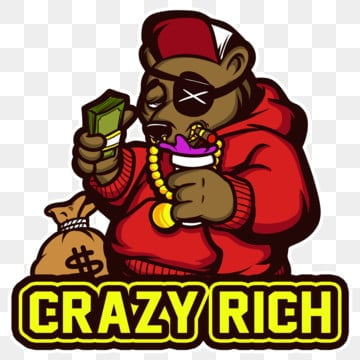 crazy rich, Cartoondesign, Clothigline, Stickers PNG and PSD