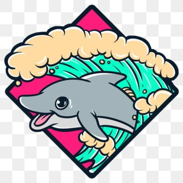 dolphins and wave2, Cartoondesign, Cartoon, Clothigline PNG and PSD