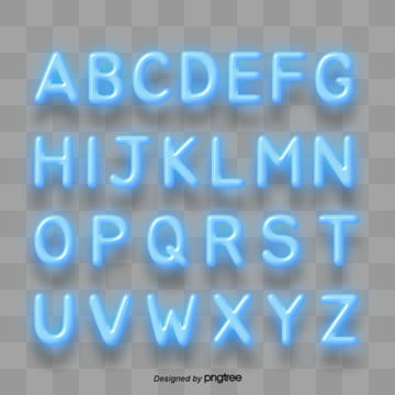 alphabet list of blue lighting effects Fonts