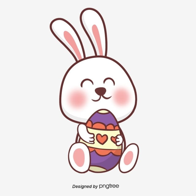 Cartoon Hand Painted Easter Purple Egg Rabbit Rabbit Cartoon