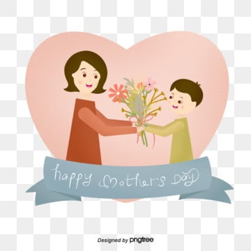 pink love and warm mothers day flower elements, Son, Cartoon, Daughter PNG and PSD