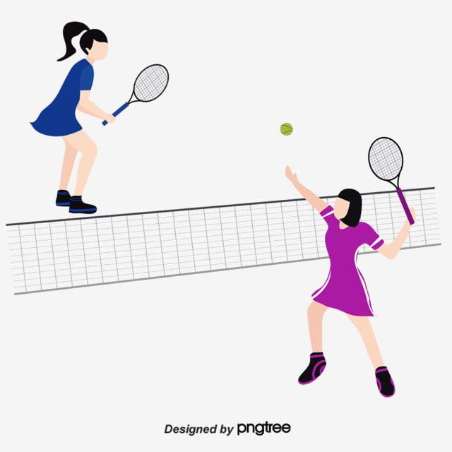 Tennis. Illustration of stickmen playing tennis.