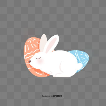 cartoon cute easter egg rabbit illustration elements, Rabbit, Cartoon, Lovely PNG and PSD