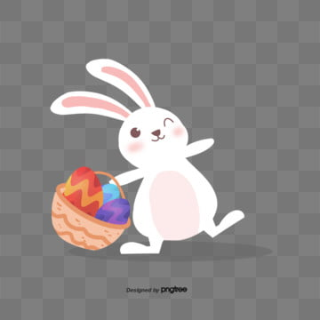 illustration elements of easter flower basket egg rabbit, Rabbit, Cartoon, Lovely PNG and PSD