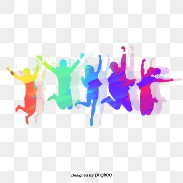 taiwanese youth festival jumping up colorful and lively silhouette character elements, Character, Newborn, Silhouette PNG and PSD