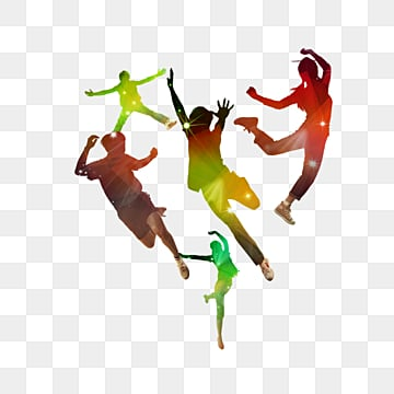 color silhouette jumping youth elements, Silhouette, Color, Vitality PNG and PSD