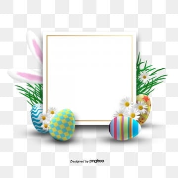 Three dimensional Creative Border Elements of Easter Egggrass, Rabbit, Resurrection Rabbit, Easter PNG and PSD