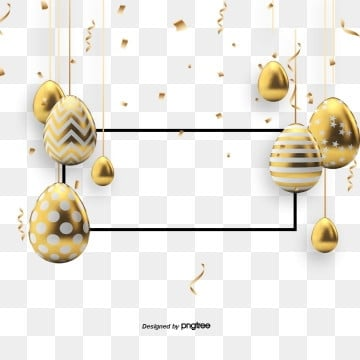 Black Gold Creative Easter Golden Egg Border, Rabbit, Resurrection Rabbit, Easter PNG and PSD
