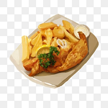 british fish and french fries characteristic food elements, Fast Food, Frying, Fried Fish PNG and PSD