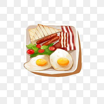 elements of fried egg sausage for breakfast with british characteristics, Toast, Bacon, Fried Eggs PNG and PSD