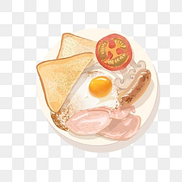 English Breakfast Bacon Sausage Fried Egg Elements, Breakfast, Fried Eggs, Characteristic Food PNG and PSD