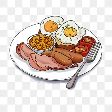 english breakfast featured fried eggs  sausages  soybeans and tomatoes, Knife And Fork, Bacon, Breakfast PNG and PSD