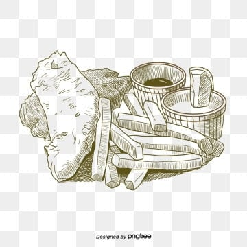 hand drawn line drawing of british fish and chips elements, Fast Food, Frying, Fried Fish PNG and PSD