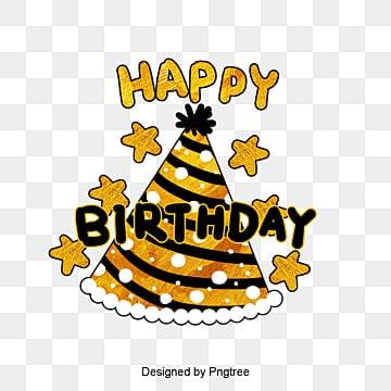 Hand-painted font design of yellow and black birthday hat for birthday party, Lovely, Hat, Celebrating PNG and PSD