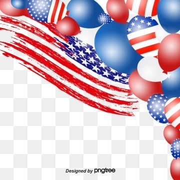 Red and Blue American Flag Festival Balloon Elements, Five-pointed Star, Celebrating, Happy PNG and PSD