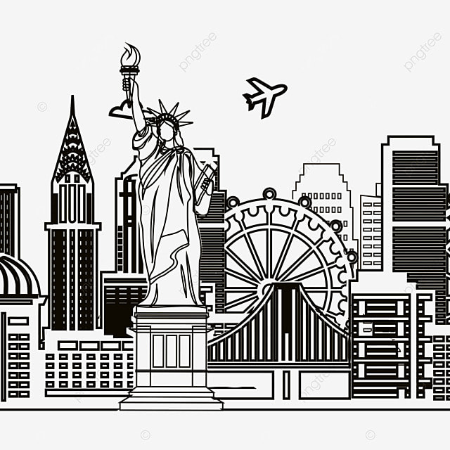 simple line drawing of american city skyline  skyline  city  bridge png clipart image and psd