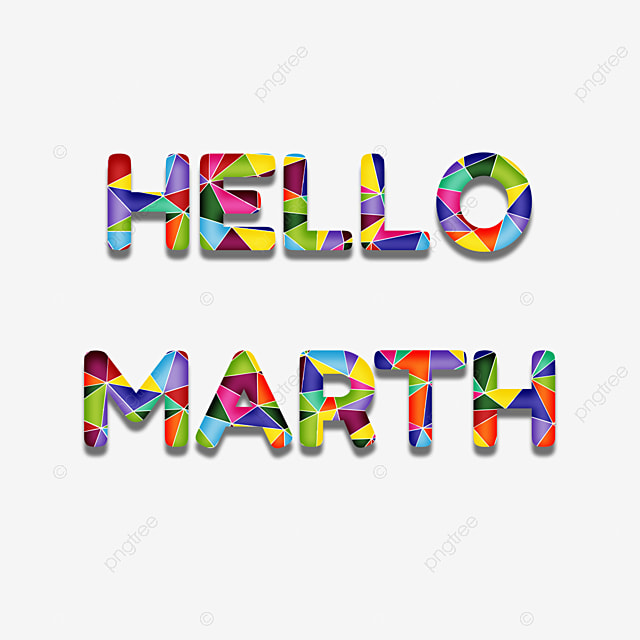 Colorful Hello Marth Lettering Geometric Collage Word Art