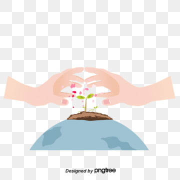 arbor day twin heart heart favor plant elements, Both Hands, Sprouting, Care PNG and PSD