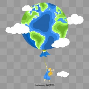 blue earth balloon creative paper cut material, Flaky Clouds, Character, Protect The Earth PNG and PSD