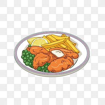 hand painted fish and chips, Cartoon, Hand Painted, Lemon PNG and PSD