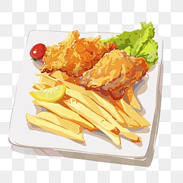 british fish and french fries characteristic food elements, Fast Food, Lemon, Fried Fish PNG and PSD