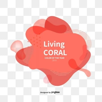 creative memphis fluid coral red creative color card elements, Coral Red, Coral Color, Red Line PNG and PSD