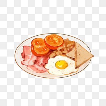 English Breakfast Fried Egg Bacon Fried Bean Elements, Bacon, Hand Painted, Illustration PNG and PSD