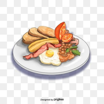 English Delicious Breakfast Sausage Tomato Bacon Fried Egg Fried Bean Elements, Bacon, Breakfast, Fried Beans PNG and PSD