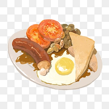 english delicious breakfast  white bread  sausage  fried beans  tomatoes and fried eggs, Breakfast, Fried Eggs, Delicious PNG and PSD