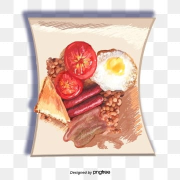 english food breakfast fried egg sausage bacon fried beans white bread elements, Bacon, Breakfast, Fried Beans PNG and PSD