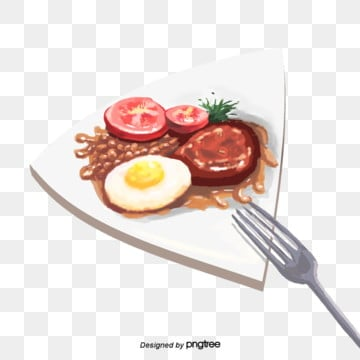 english fried beans fried eggs tomato bacon breakfast elements, Fork, Bacon, Breakfast PNG and PSD