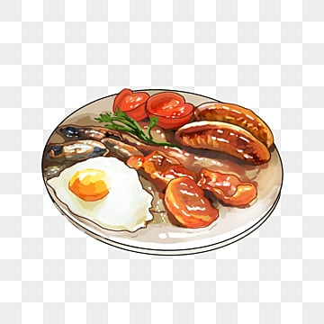 english sausage egg breakfast, Bacon, Breakfast, Beans PNG and PSD