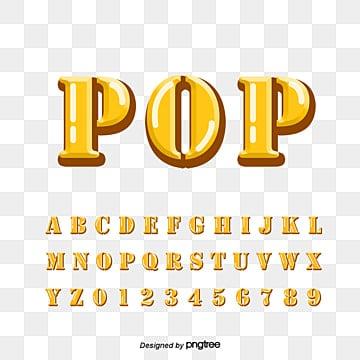 yellow english number comprehensive alphabet Fonts