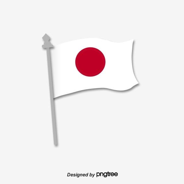 Rojo Y Blanco Volando Asta De Bandera Simple Bandera Japonesa