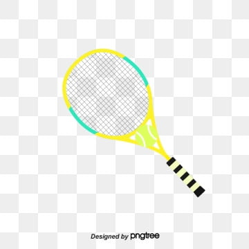 yellow tennis cartoon sports equipment, Cartoon Style, Tennis, Tennis Racket PNG and PSD