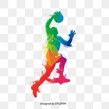 colorful creative players play basketball, Sports, Cartoon, Color PNG and PSD