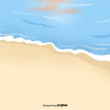 Hand-painted beach background, Summer, Sea, On Vacation PNG and PSD