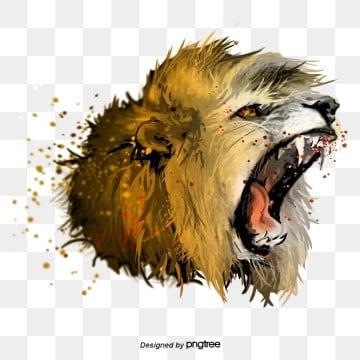 Yếu tố đầu sư tử gầm gào thét, Nguyên Tố, Động Vật, Vua Của Rừng png và psd