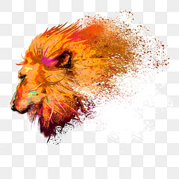 splash lion head elements, Element, Animal, Spatter PNG and PSD