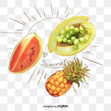 Summer fruit, pineapple, watermelon and grape elements, Element, Iced, Hami Melon PNG and PSD