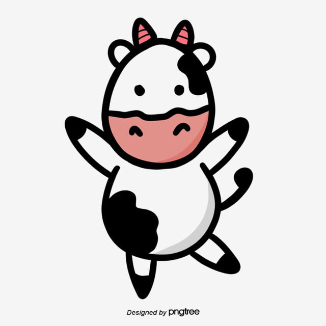 Black White And Pink Cows Dance Lovely Flat And Simple Cartoon